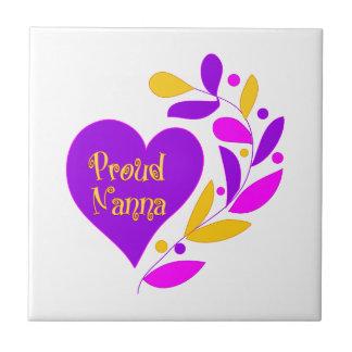 Proud Nanna Heart Small Square Tile