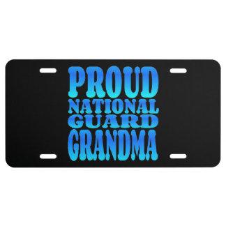 Proud National Guard Grandma in Blue License Plate