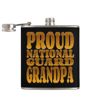Proud National Guard Grandpa in Gold Flask