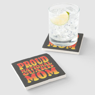 Proud National Guard Mom in Bright Colors Stone Coaster