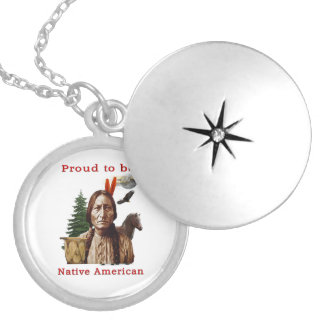 proud native american silver plated necklace