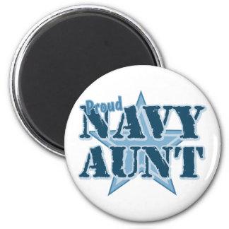 Proud Navy Aunt 2 Inch Round Magnet