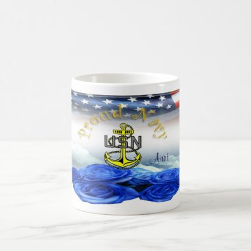 Coffee Themed Proud Navy Aunt Coffee Mug