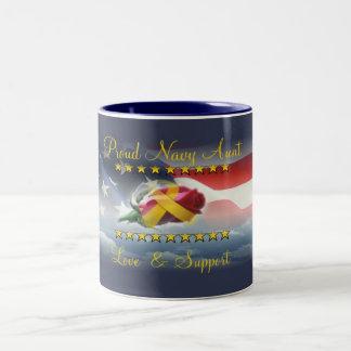 Proud Navy Aunt Two-Tone Coffee Mug