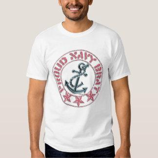 Proud Navy Brat pink stamp T-Shirt