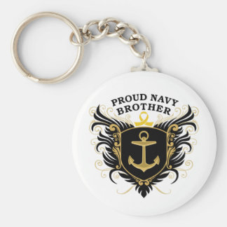 Proud Navy Brother Basic Round Button Keychain