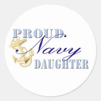 Proud Navy Daughter Round Stickers