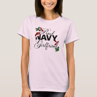 Proud Navy Girlfriend Christmas Holly T-Shirt