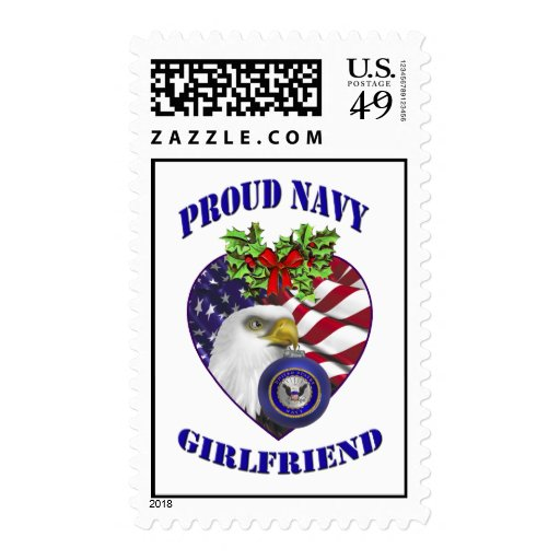 Proud Navy Girlfriend Christmas Postage Stamps