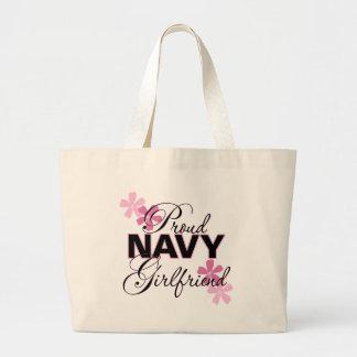 Proud Navy Girlfriend Large Tote Bag