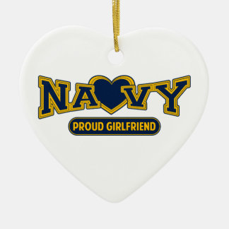 Proud Navy Girlfriend Double-Sided Heart Ceramic Christmas Ornament