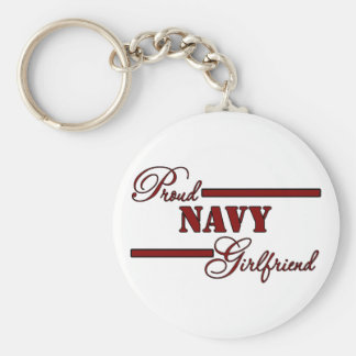 Proud Navy Girlfriend (Red N Black) Keychain