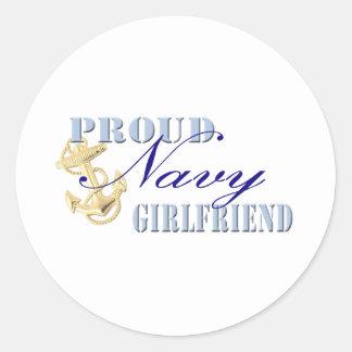 Proud Navy Girlfriend Round Stickers