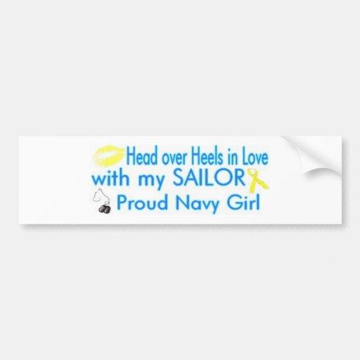 Proud Navy Girlie Bumper Sticker