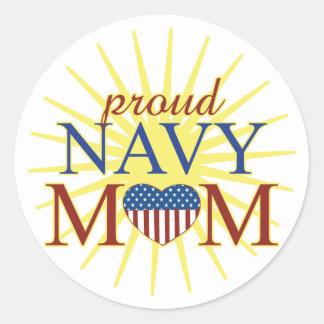 Proud Navy Mom Classic Round Sticker