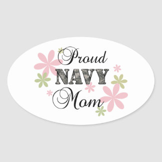 Proud Navy Mom [fl c] Oval Sticker
