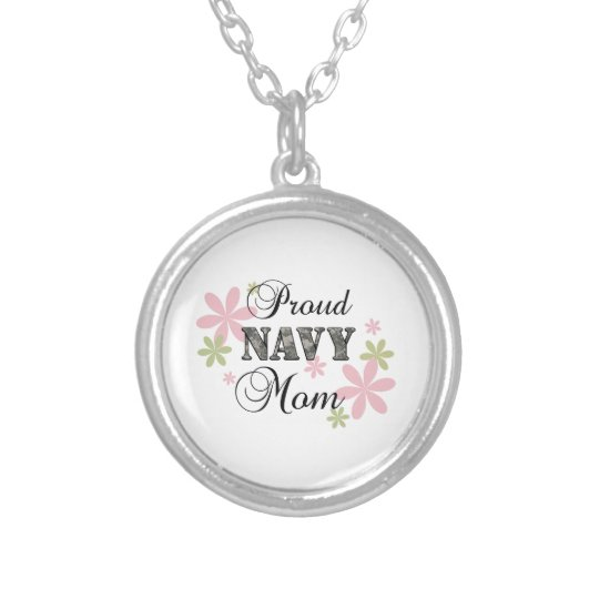 Proud Navy Mom [fl c] Silver Plated Necklace