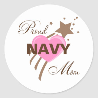 Proud Navy Mom Heart Classic Round Sticker