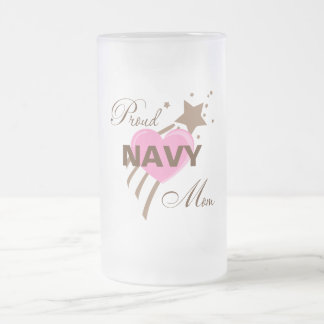 Proud Navy Mom Heart Frosted Glass Beer Mug