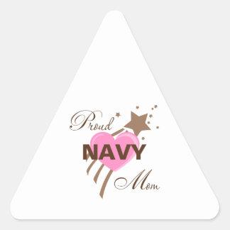 Proud Navy Mom Heart Triangle Sticker