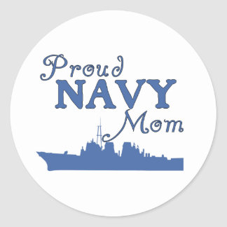 Proud Navy Mom Ship Classic Round Sticker