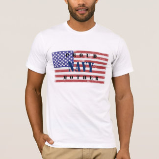 Proud Navy Mother Distressed Flag Shirt