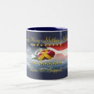 Proud Navy Mother N Law Two-Tone Coffee Mug