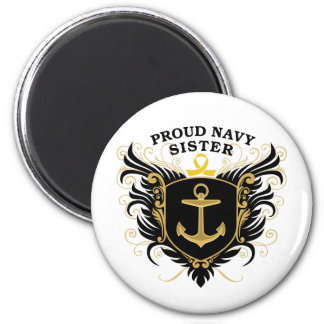 Proud Navy Sister 2 Inch Round Magnet