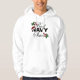 Proud Navy Sister Christmas Holly T-Shirt