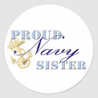 Proud Navy Sister Classic Round Sticker