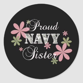 Proud Navy Sister [fl c] Classic Round Sticker