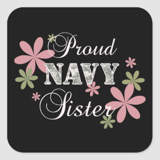 Proud Navy Sister [fl c] Square Sticker