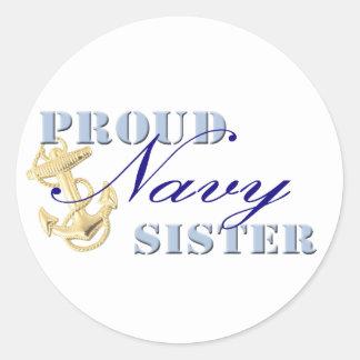 Proud Navy Sister Round Sticker