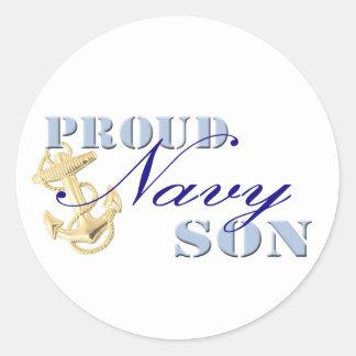 Proud Navy Son Round Sticker