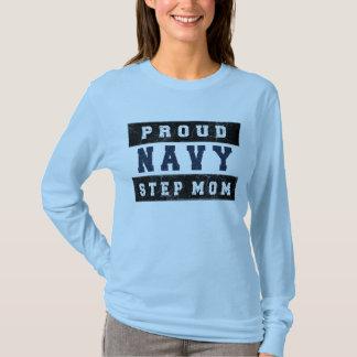 Proud Navy Step Mom Distressed Shirt