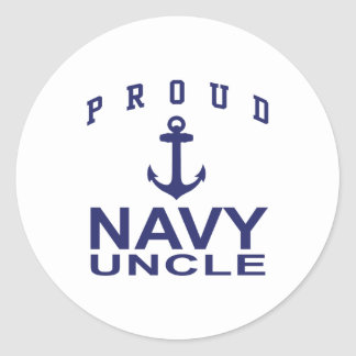 Proud Navy Uncle Classic Round Sticker