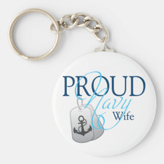 proud navy wife basic round button keychain