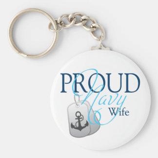 proud navy wife basic round button keychain