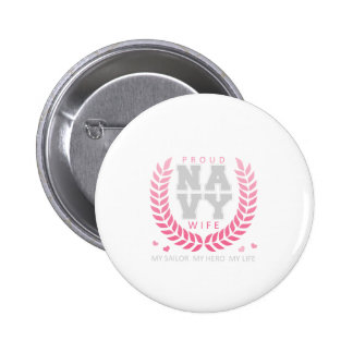 Proud Navy Wife Crest Pinback Button