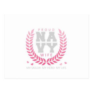 Proud Navy Wife Crest Postcard