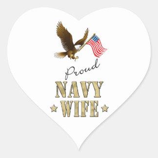 Proud Navy Wife - Eagle & Flag Heart Sticker