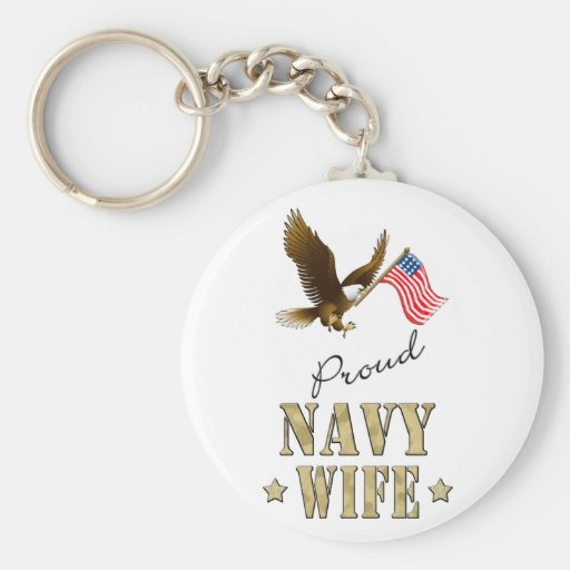 Proud Navy Wife - Eagle & Flag Key Chains