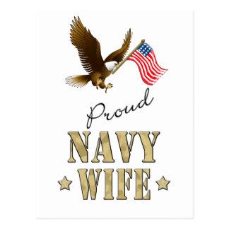 Proud Navy Wife - Eagle & Flag Postcard