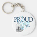 proud navy wife key chains
