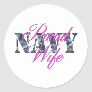 proud navy wife NWU Classic Round Sticker