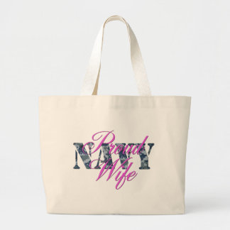 proud navy wife NWU Large Tote Bag