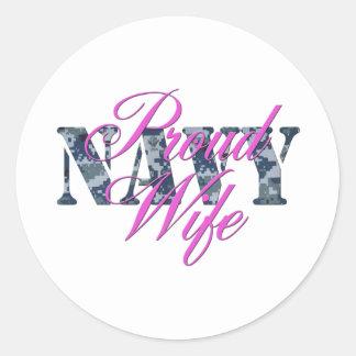 proud navy wife NWU Round Sticker