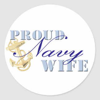 Proud Navy Wife Round Stickers