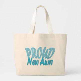 Proud New Aunt Blue Jumbo Tote Bag