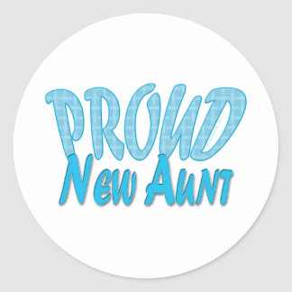 Proud New Aunt Blue Classic Round Sticker
